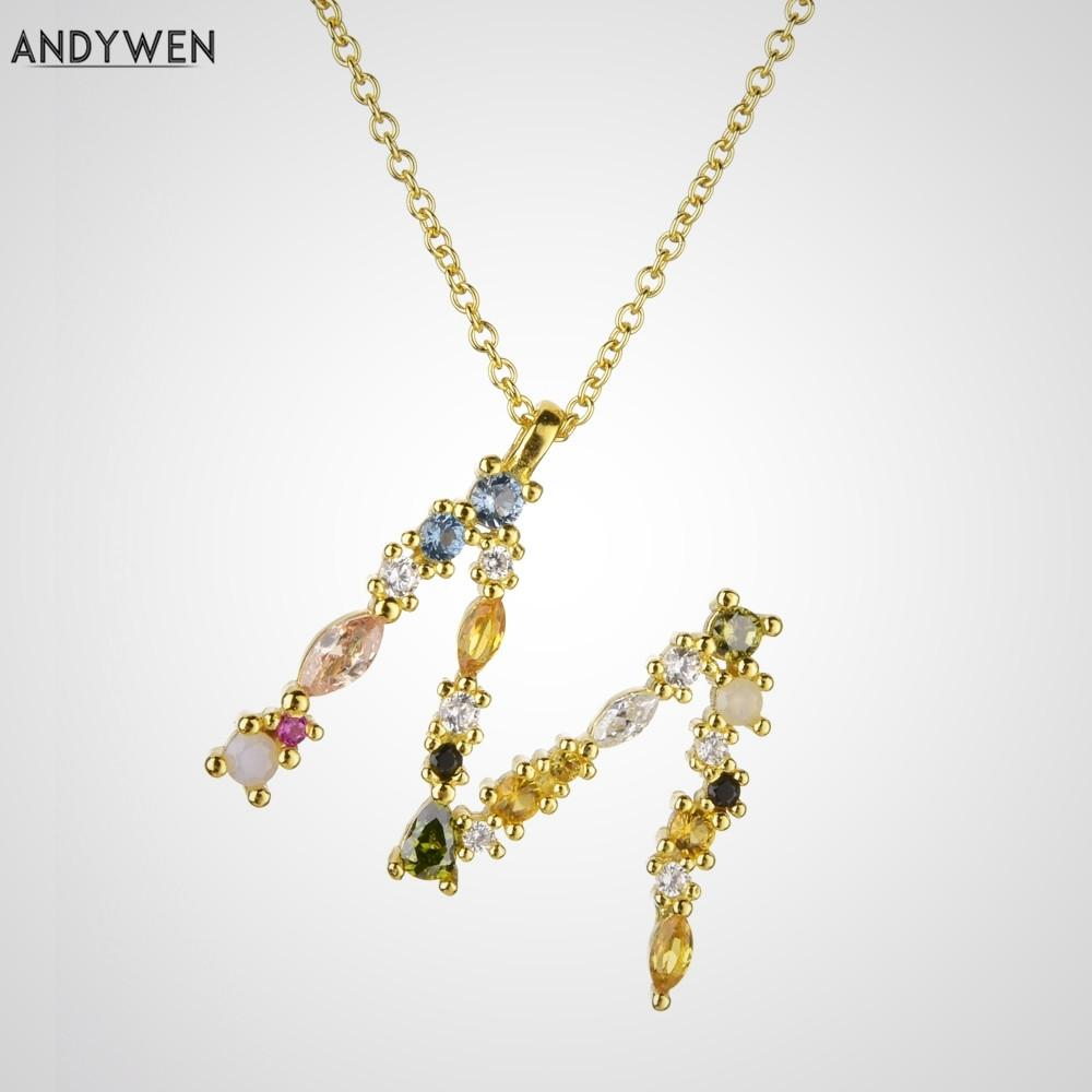 ewelry аксессуары ANDYWEN 925 Sterling Silver Gold Leter M Подвеска Initial F алфавит ожерелье опал мода 2019 Женщины Accessorie ...