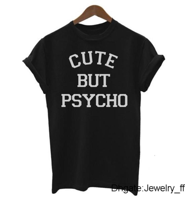 Симпатичные Но Psycho Письма женщин тенниска хлопка вскользь Смешной Tshirts для Леди Черный Белый Серый Топ Tee Hipster Tumblr футболки для женщин