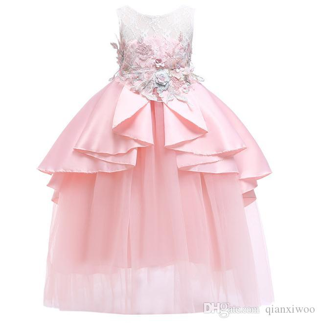 Europe Big Girls Dress Children Applique Embroidery Gauze Skirt Baby Kids Tulle Party Dress Girl Lace Ball Gown Tutu Princess Dresses W333