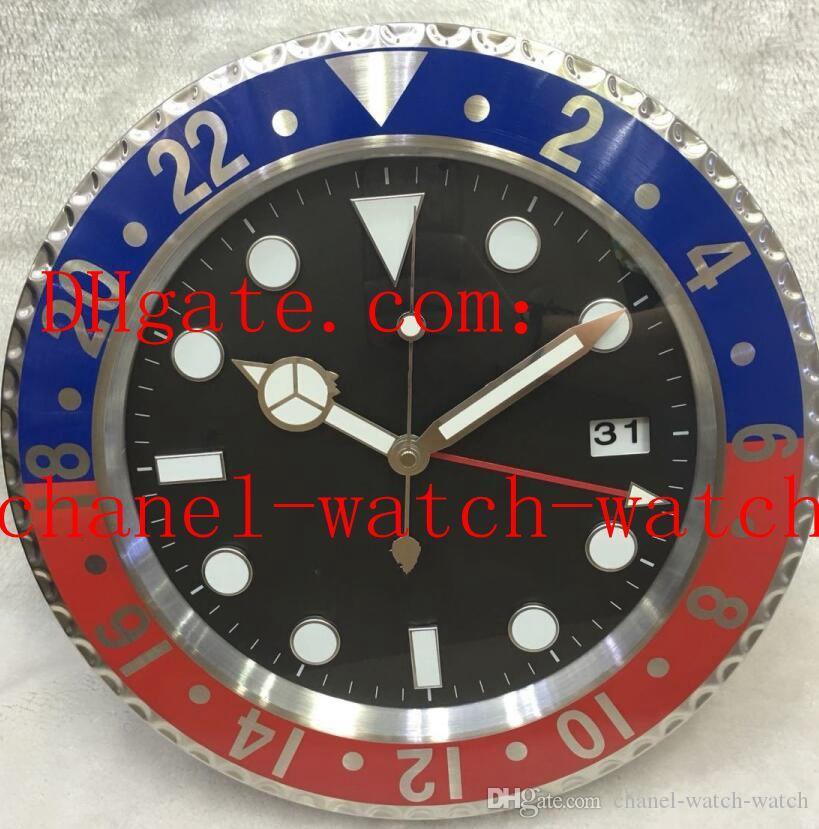 8 스타일 높은 품질 벽 시계 시계 34CM는 5CM 스테인리스 석영 운동 블루 발광 시계를 X