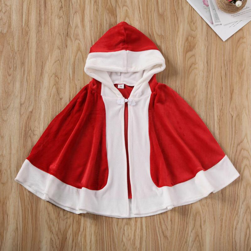 Kid Girl Hooded Princess Cape Coat Fur Cloak Christmas Party Costume Fancy Dress Cosplay Cloak Cape Robe Party Wear