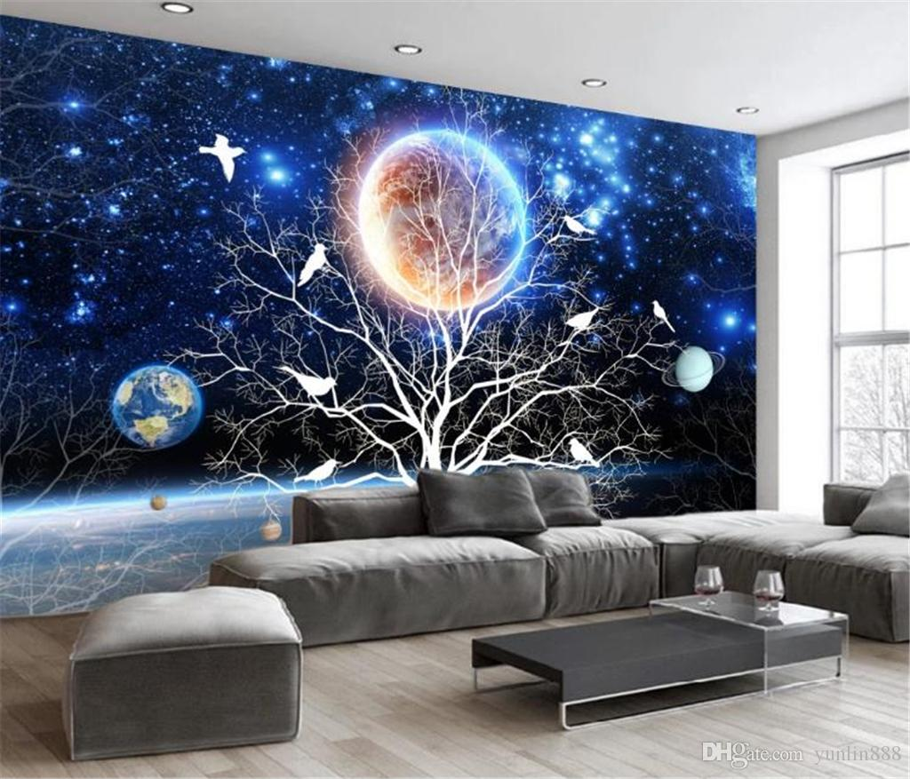 Decor Mural Wallpaper Abstract Fantasy Beautiful Starry Flowers And Birds Custom Romantic Wall Paper Full Hd Wallpapers Pc Full Hd Widescreen Wallpapers From Yunlin888 10 7 Dhgate Com