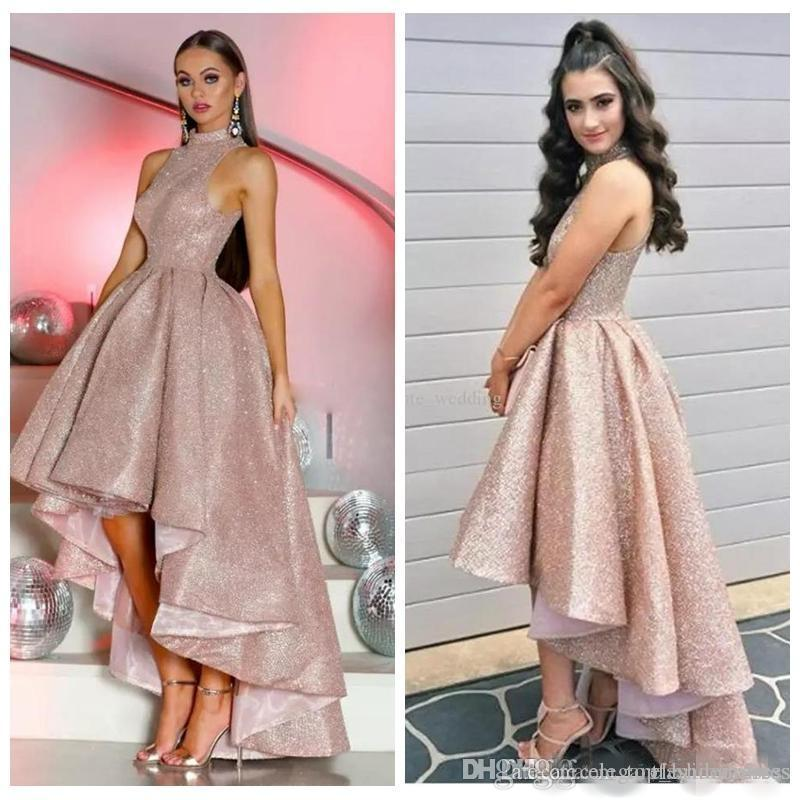2019 Sparkly Rose Gold Sequins Prom Dresses High Low High Neck Sleeveless Pleats Plus Size Custom Made Formal Evening Wear Party Gowns