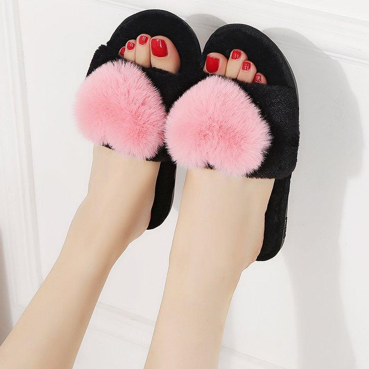 Зимние женские домашние тапочки в форме сердца из меха женщины Домашние тапочки в помещении Теплые домашние туфли Водонепроницаемые домашние горки Zapatos mujer