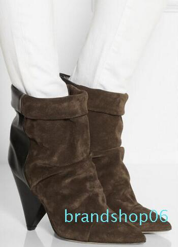 Hot Sale-IS Marant Spike Heel Boots Women Genuine leather Pointy toe Ankle Suede Andrew Wedge Booties