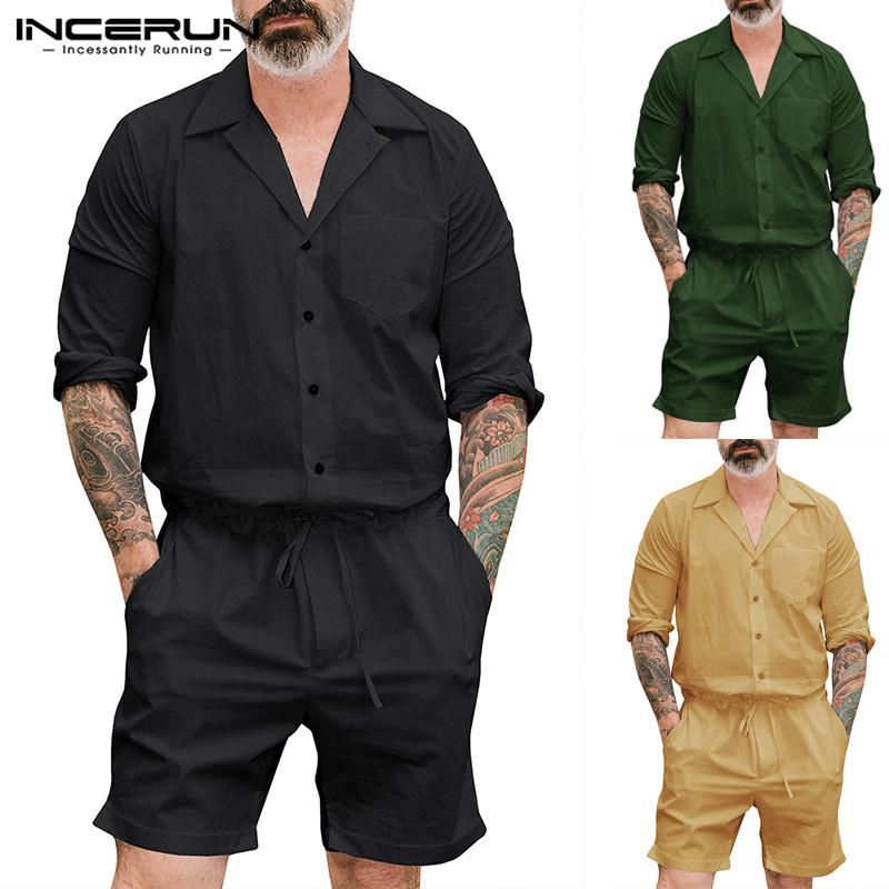 Cargo Playsuits Men Rompers 2019 Fashion Men Jumpsuit Long Sleeve Cargo Harajuku Overalls Pockets Pants Solid Loose Coveralls