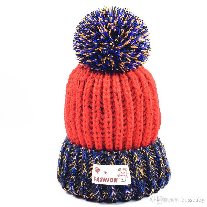 الاطفال الرضع حك قبعات الطفل بنين غزل الكرة قبعات أطفال بنات في الهواء الطلق مترهل بيني مراهقون الشتاء الدفء محبوك القبعات 3-12T 06