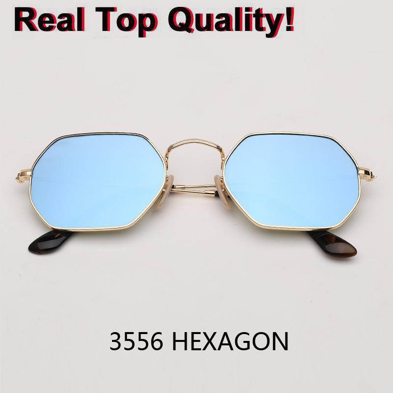 Piccolo esagono quadrato 3556n Donne Occhiali da sole Sol Hombre Gafas Sun Elegante Uomo Sfumature esagonali Moda Eyewear de UV400 Glasses Metallo Re Bkuk