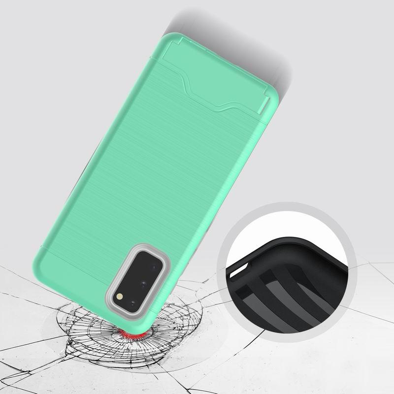 10pc sBrushed Armor Silicone Rubber Hard Phone Case For Samsung Galaxy S20 ULTRA S20 PLus Card Slot Holder Case Coque for IPHONE 11 MAX LG