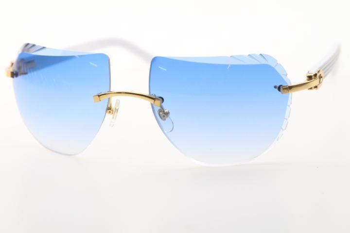 2020 도매 무테 선글라스 8200763 화이트 판자 안경 고품질 브랜드 태양 안경의 새로운 쉴드 광학 남여 C 장식