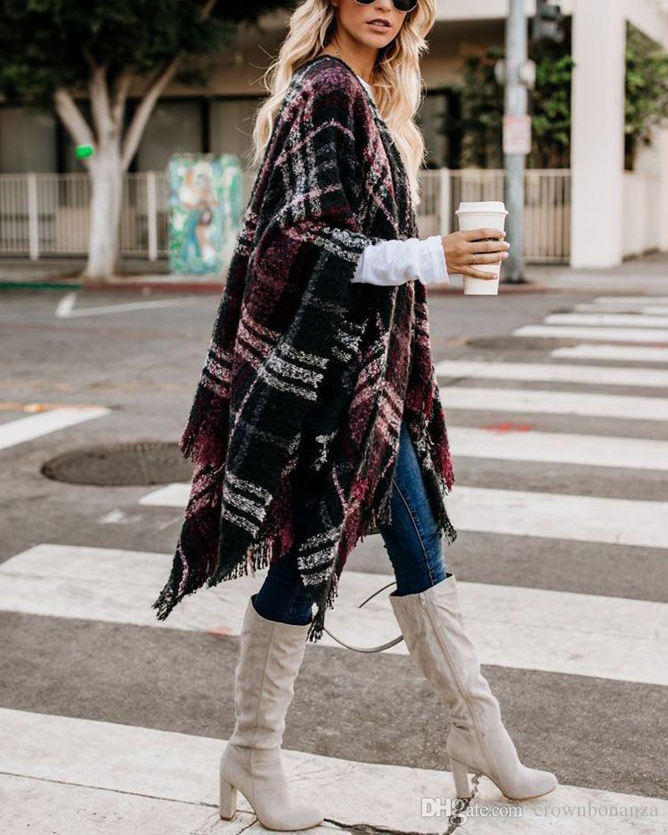 Frauen Wolle Schal Strickjacke Patchwork Plaid Poncho Cape Wrap Winter Warme Decke Mantel Wrap Schal outwear Mantel