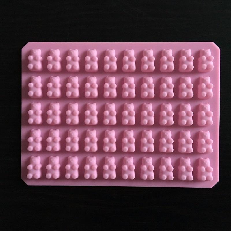 Pratique mignon Gummy Bear 50 Cavity Plateau silicone Marque chocolat bonbons Ice Jelly moule bricolage enfants gâteau Outils gros D0026-1