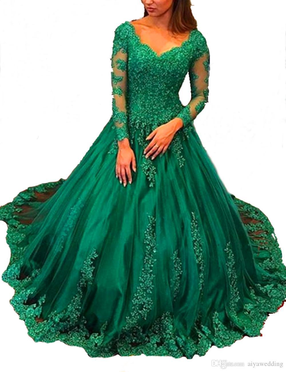 Abiti da sera eleganti Plus Size 2021 Robe Longue Manche Longue Soiree Seree Emerald Green Ball Gown Maniche lunghe Abiti da ballo