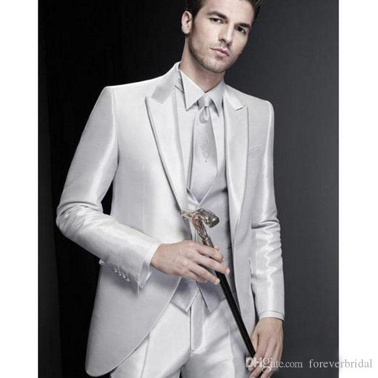 Отлично Жених Свадебные Смокинги Мужские Одной Пуговицы Смокинги Модный Человек Пиджак Пиджак Пром Ужин 3 Шт. Костюм (Куртка + Жилет + Брюки)