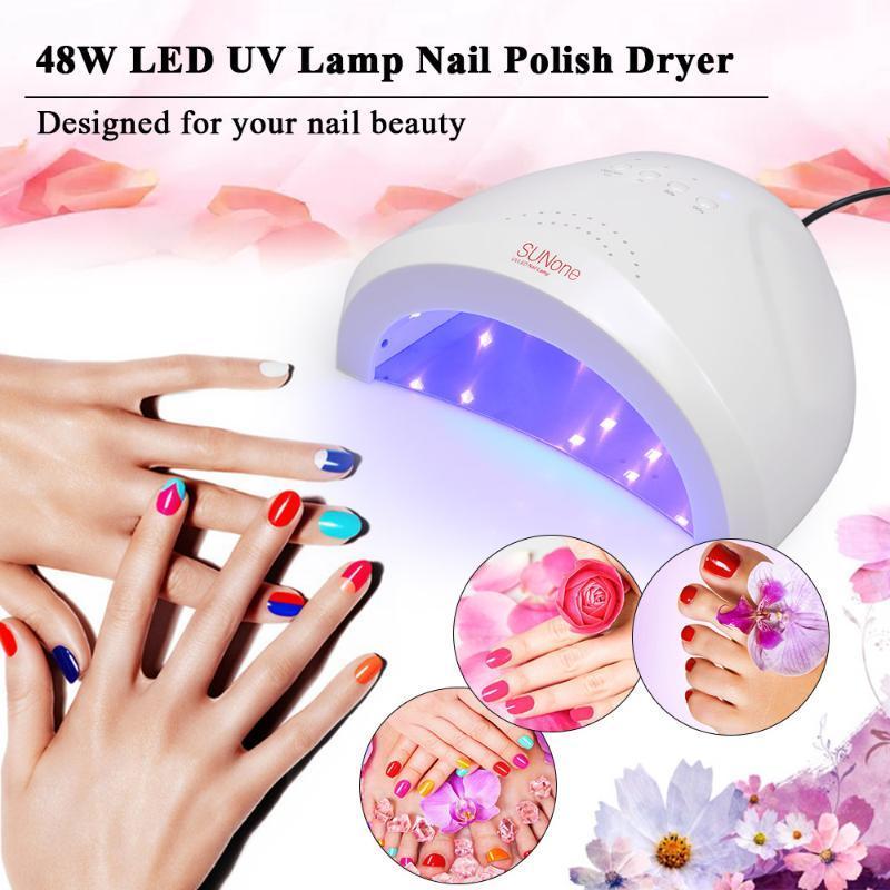 48W LED UV Lamp Nail Polish Dryer Fingernail & Toenail Gel Curing Light Heater Machine Nail Art Painting Salon Tools Set