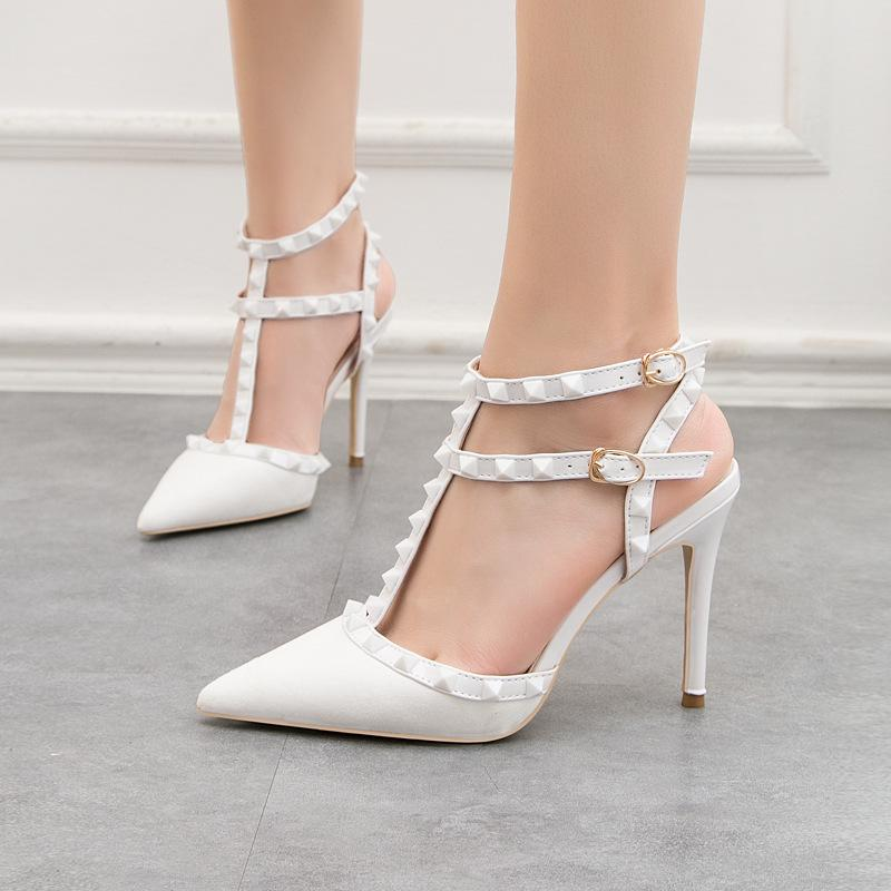 Sexy T-strap designer wedding banquet shoes nightclub party women's pumps with 10cm stiletto high-heeled slingbacks 9268-28