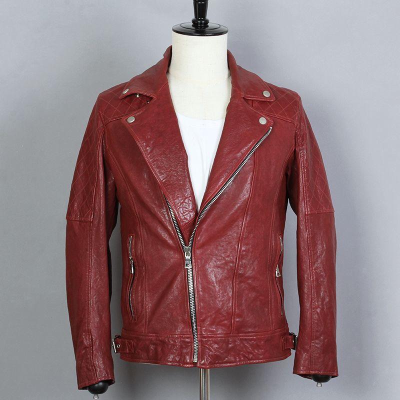2018 Nueva chaqueta de motocicleta chaqueta de cuero genuino para hombre de piel de oveja roja Slim Fit de solapa corta Biker escudo masculino