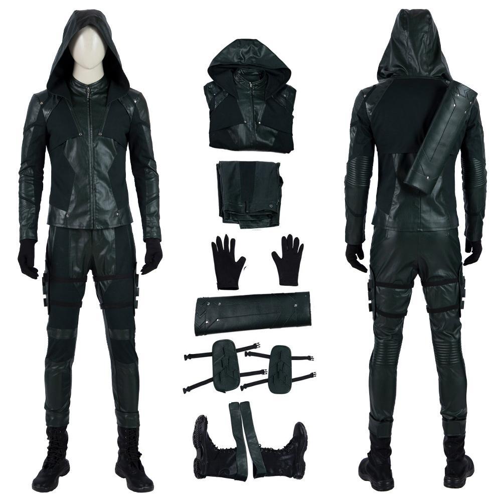Green Arrow Costume Seta Estação 8 Cosplay Oliver Queen alta qualidade Conjunto completo