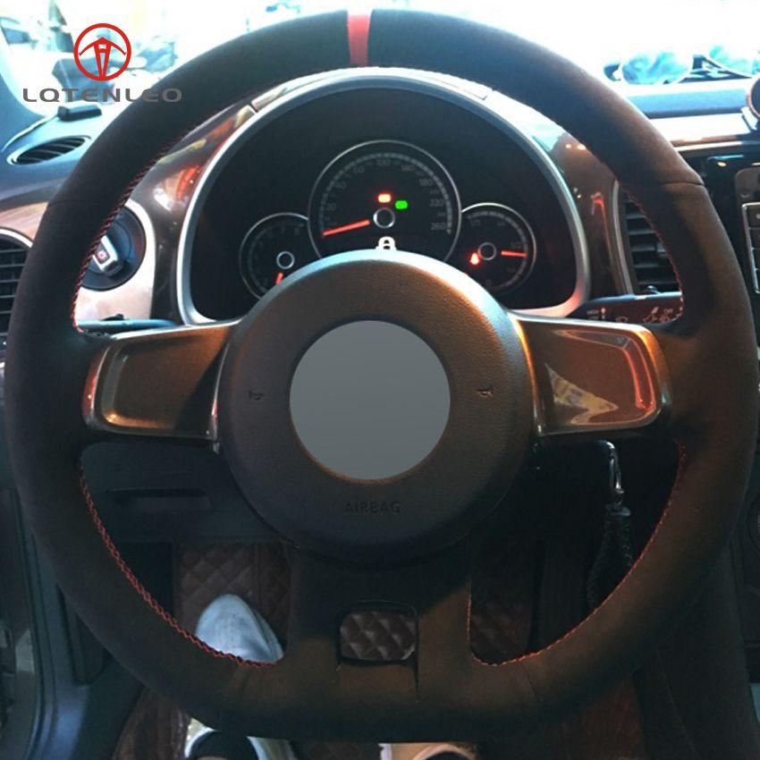 VW 비틀 2,012에서 2,016 사이까지 2013-2016에 대한 LQTENLEO 블랙 스웨이드 DIY 핸드 스티치 자동차 스티어링 휠 커버