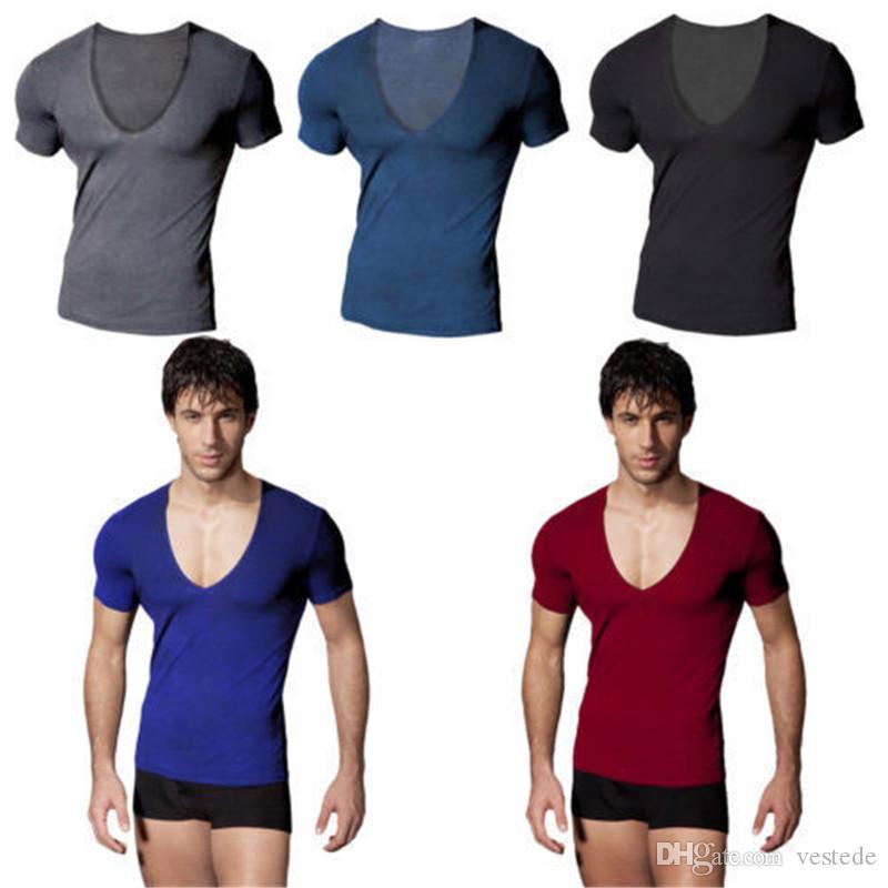 남성 깊은 V 넥 스포츠 T 셔츠 패션 슬림 단색 짧은 소매 캐주얼 티셔츠 남성 디자이너 최고