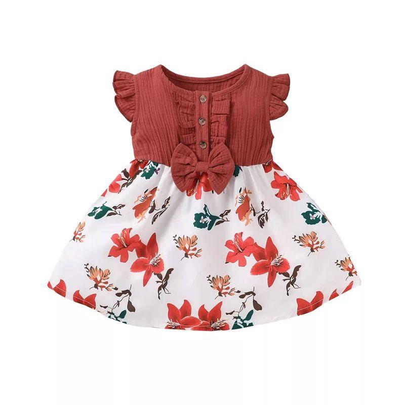 Newest INS Little Girls Dresses Ruffles Fly Sleeve Linen Cotton Floral Patchwork Children Dress Kids Boutique Clothing