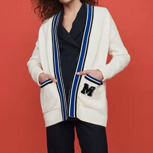 2019 Summer Fall Winter White 긴 Sleeve V 넥 Striped Print 니트 Paneled Cardigan Sweater Women Fashion SweaterJL05141033M