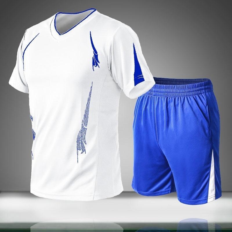 2020 New Casual Men Define Verão Sports sólidos fato de duas peças camisetas + do Men Shorts Sportswear Jogger Slim Fit Treino Quick Dry T200604