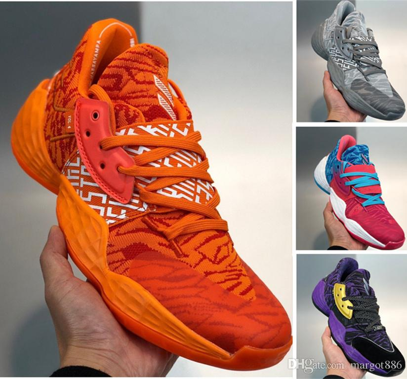Harden Vol 4 мужские баскетбольные туфли розовые оранжевые конфеты краска красные камуфляжные алые парикмахера светящиеся зеленые королевские ярко-голубые чешуйки кроссовки 40-46