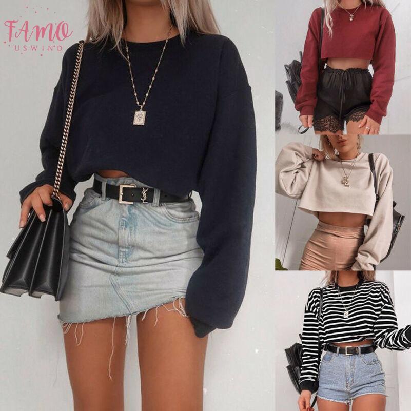 Cosecha del otoño de moda para mujer Top de manga larga camisetas ocasionales mujeres sueltan el suéter Tops Primavera corto camiseta al aire libre Trajes