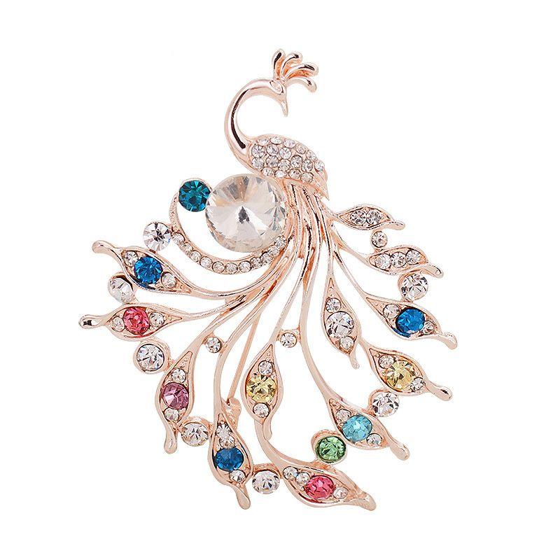 Plein strass cristal Peacock Mode mariage Épingle Prom Party Pins Broche Bijouterie Fantaisie Broche Corsage pour Hommes Femmes Coffret Cadeau