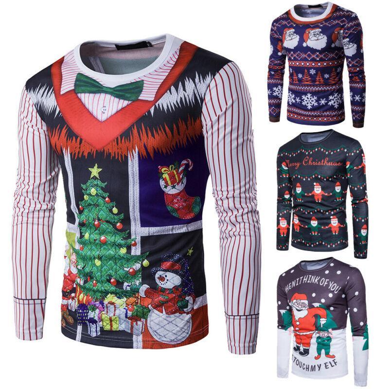 2019 regalo di Natale Uomini divertente di natale T-shirt stampata 3D base occasionale Tops maniche lunghe Tee Shirts Top Dropshipping