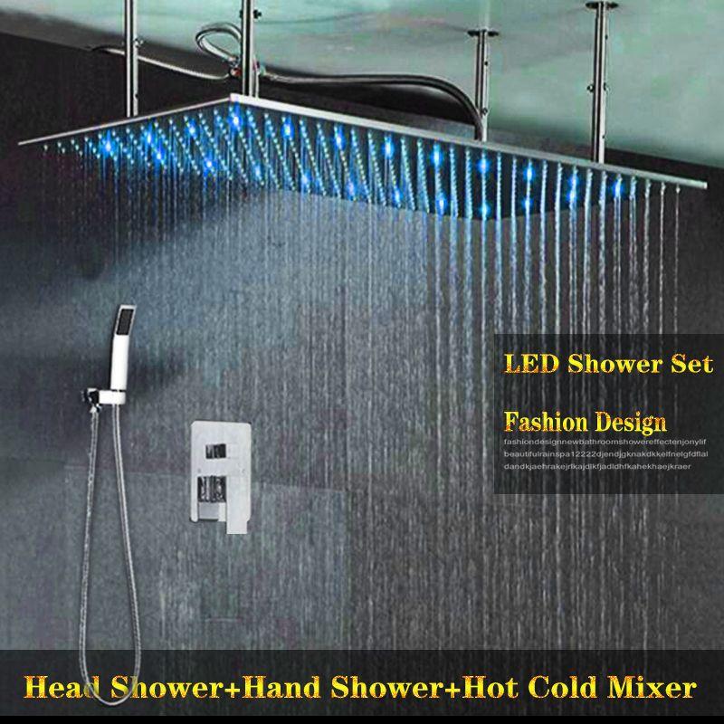 2 핸들 핫 차가운 믹서 밸브와 수도꼭지 사각 400x800mm 수력 LED 샤워 헤드 세트 욕실 비 샤워 패널 샤워