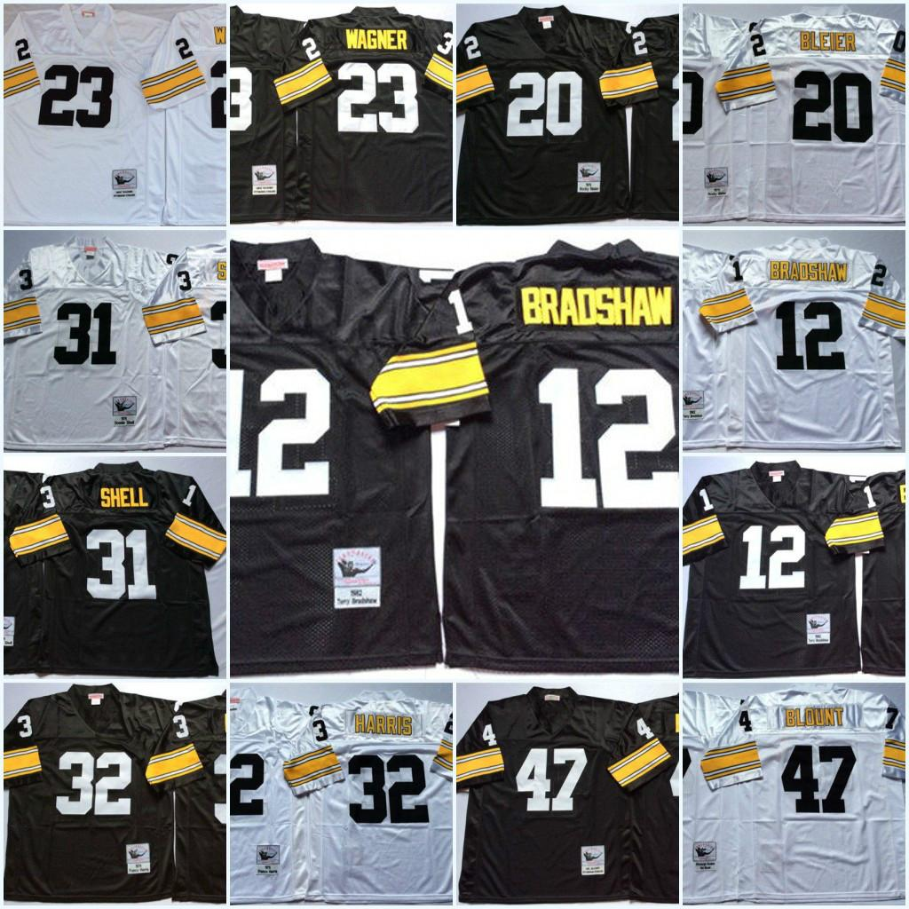 Erkekler NCAA 1979 # 12 Terry Bradshaw Futbol Forması # 20 Rocky Bleier # 23 Mike Wagner # 31 Donnie Shell # 32 Franco Harris # 47 Mel Blount Jersey