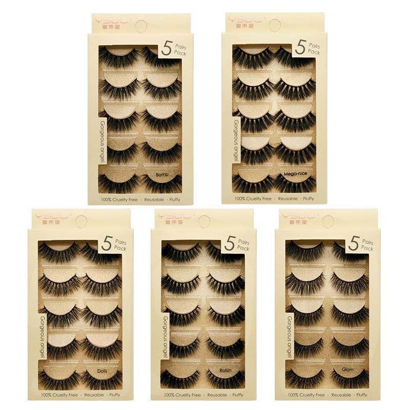 5 la bande de vison paires cils cils spectaculaires vison naturel 3d faux cils maquillage cils cilios Maquiagem prix usine