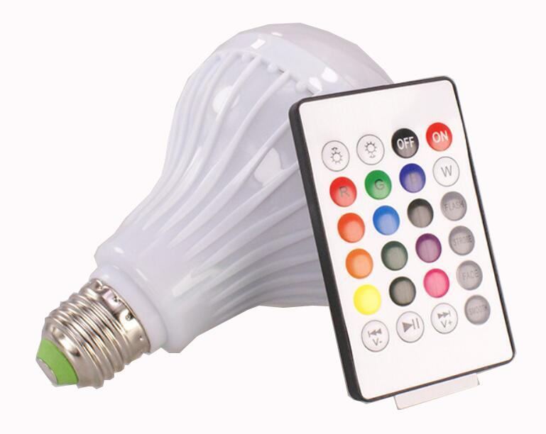 E27 Smart RGB Wireless lampada Bluetooth Speaker Bulb Music Playing Dimmable LED RGB Music Bulb Light Lamp With 24 key remote controller