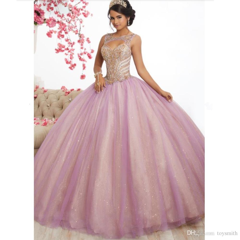 Pink Tulle Long Prom Dresses Ball Gowns 2019 New Design Beading Top Sweet 16 Dress Evening Dress Quinceanera Vestido de festa