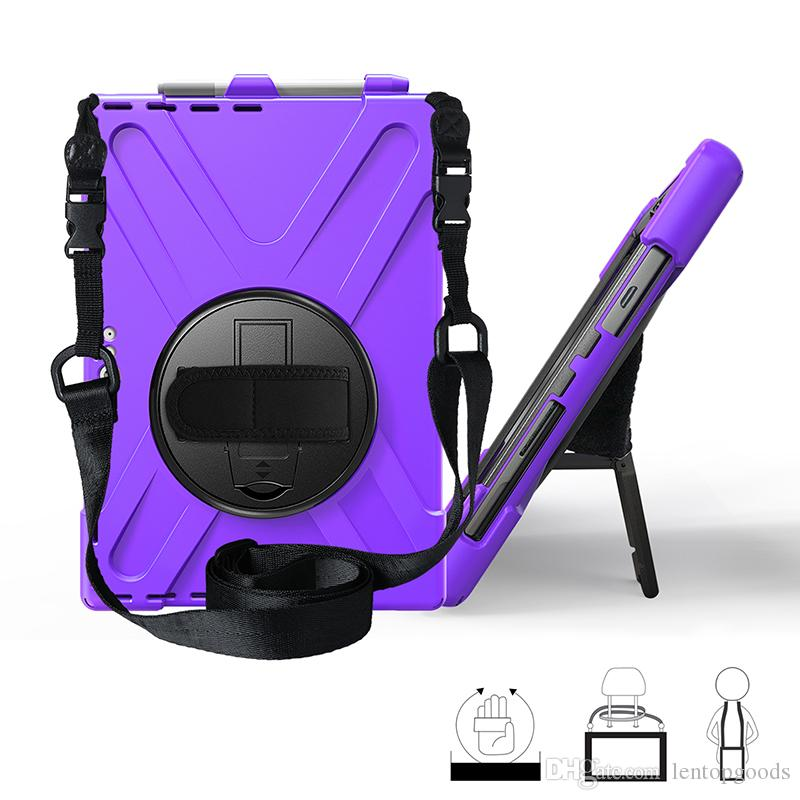 Kids Durable Protective Cover Silicone Hybrid Case with Nylon Shoulder and Swivel Hand Strap for Surface Pro 7 6 5 4 Tablet