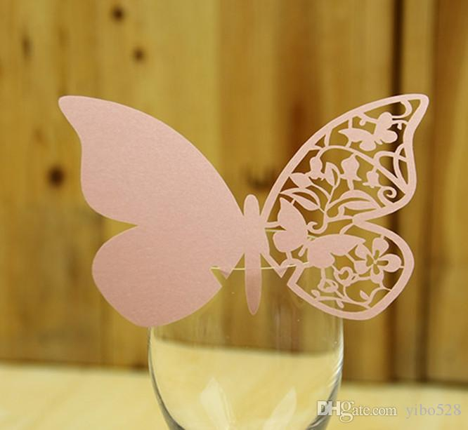 2019 Red Wine Cup Wedding Decoration DIY Place Card Laser Cut Heart Shape Wine Glass Cup Paper Cards Name Card Decoration