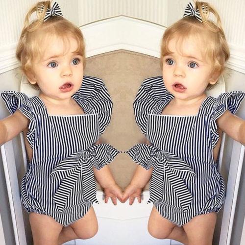 2018 Chegada Nova recém-nascido listrado Romper Verão criança crianças Bebés Meninas Ruffles Romper bowknot Macacão Backless Roupa sunsuit