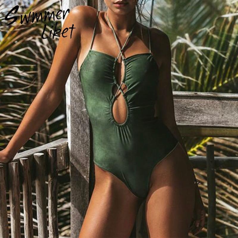 Холтер купальник один кусок высокого выреза бикини 2019 Mujer Sexy струнных зеленые купальники женщин купальных костюм лето купальщик biquini новых