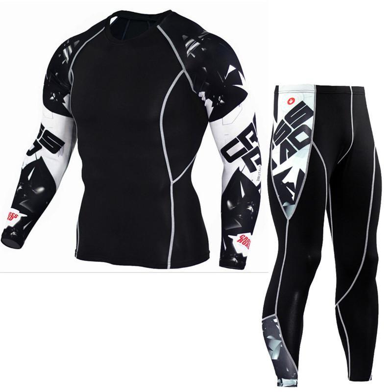 Spor Sıkıştırma Gömlek Gym Fitness Uzun kollu tişört Koşu Eğitim Sıkı Tee Koşu Erkekler Erkek Crossfit Spor Giyimi Tops