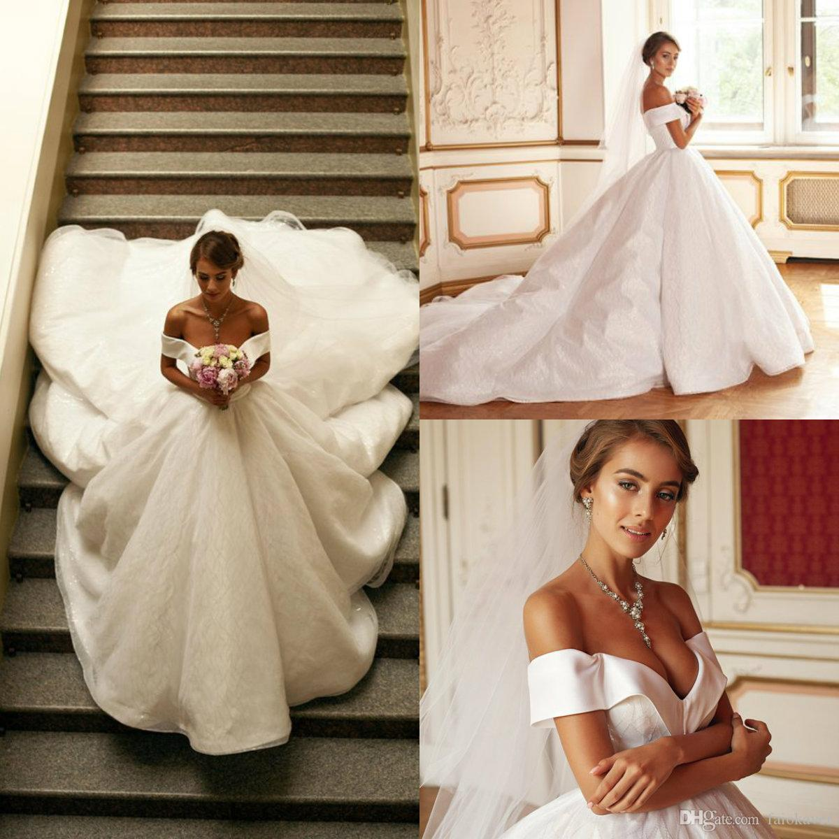 2019 A Line Luxury Wedding Dresses Lace Glitter Off The Shoulder Sweep Train Country Wedding Dress Plus Size Bridal Gowns