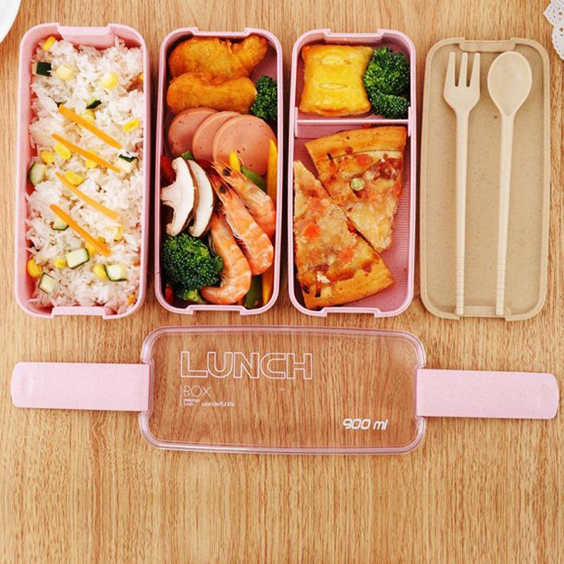 Healthy Material Lunch Box 3 Layer 900ml Wheat Straw Bento Boxes Microwave Dinnerware Food Storage Container Lunchbox VF0001