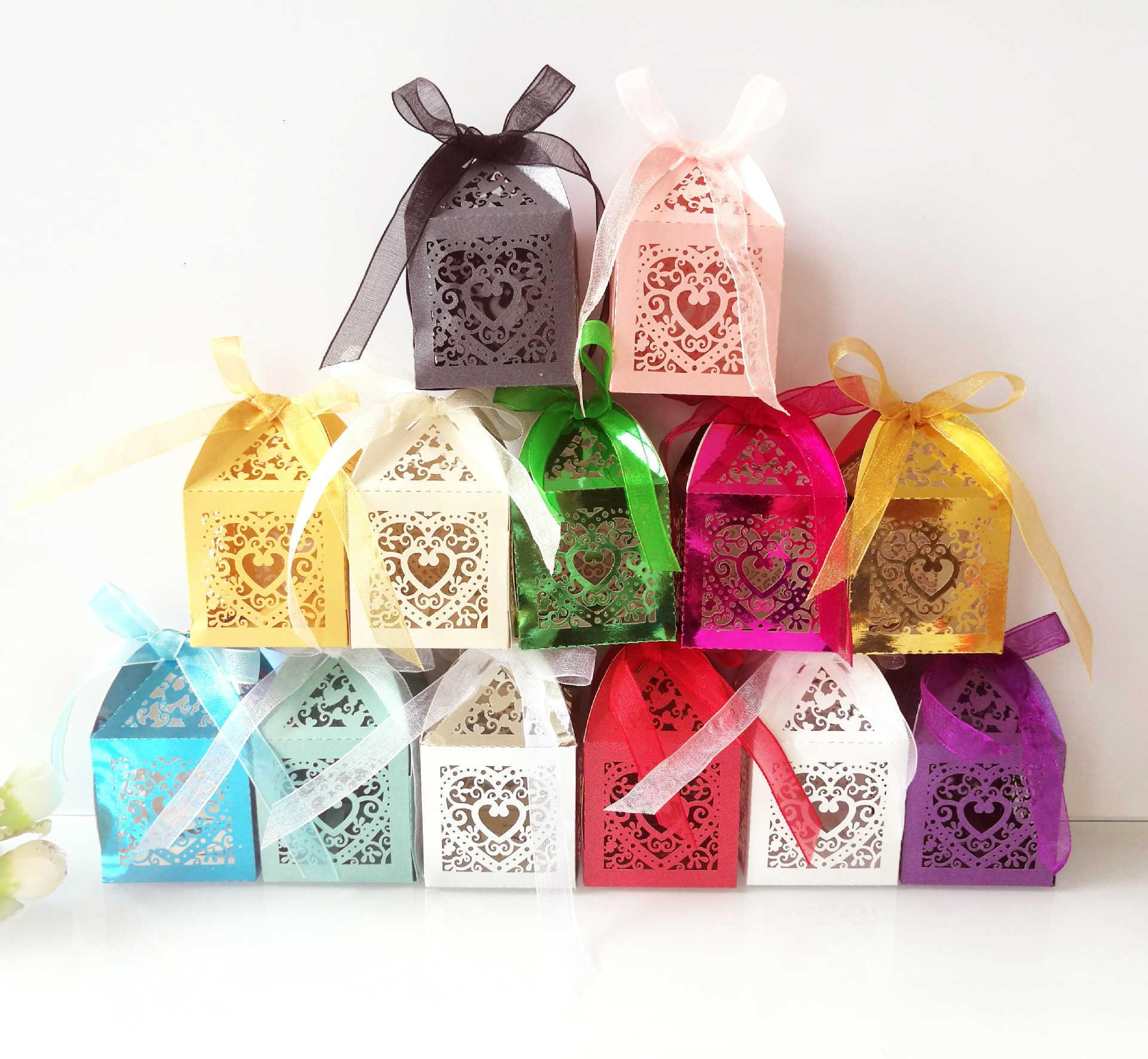 100 PC-Geschenk-Kasten-Baby-Duschen-Süßigkeit-Kaste Papierverpackungen zu Sachets Kartonagen Bonbonniere Goodie Bags SH190920