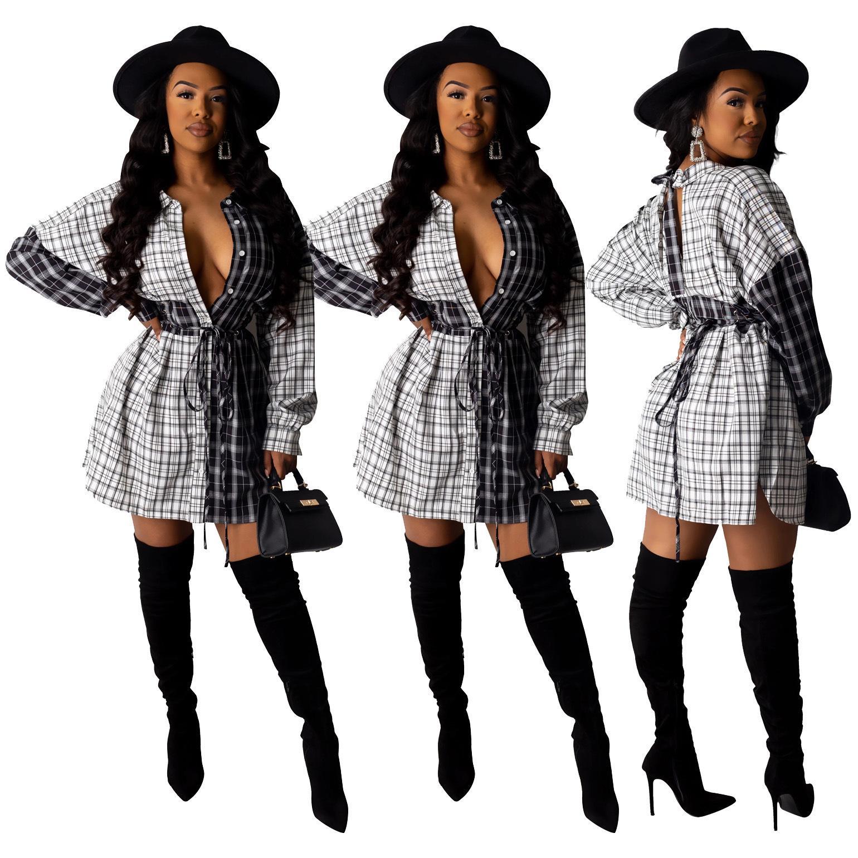 Designer-Frauen-Kleidung Frauen Plaid-beiläufiges Kleid Hieb-lange Hülse über Knie-beiläufiges Kleid Midi-Partei-Verein-Revers-Ausschnitt Patchwork gestreiftes Kleid
