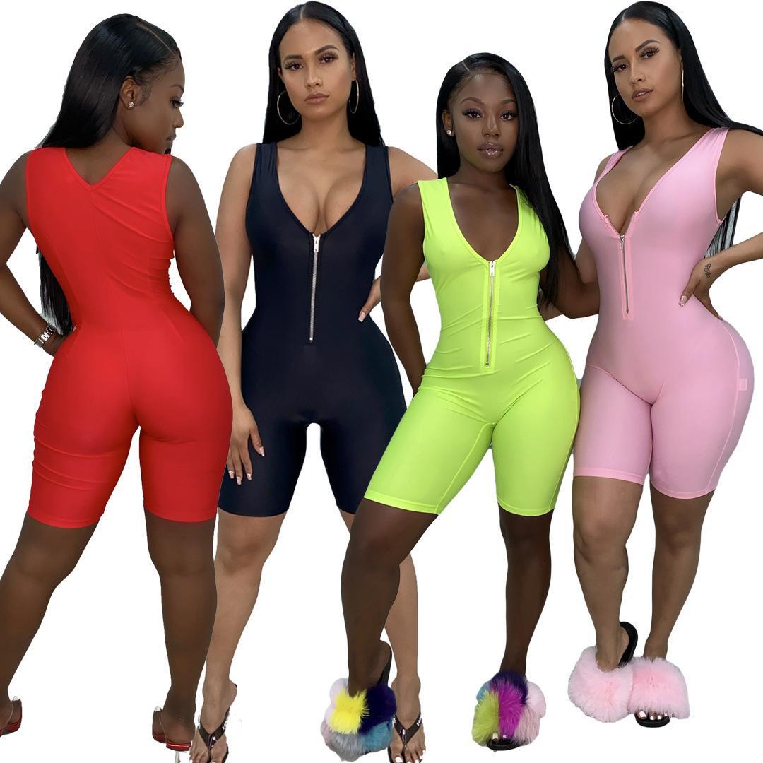 free Women Fitness Jumpsuit Rompers Yoga Pants Summer Sleeveless Zipper Turtleneck Skinny Slim Female Casual Bodysuit Outfits