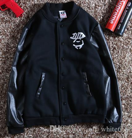 남성 라운드 넥 캐주얼 재킷 노란색 위장 편지 인쇄 가죽 슬리브 럭셔리 자켓 가을 타이드 브랜드