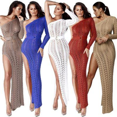 Womens Designer Luxury Skirt with Suspenders Hot Sale Off-shoulder Cutout Sexy Ladies High Slit Knitted Beach Dress 2020 New Style