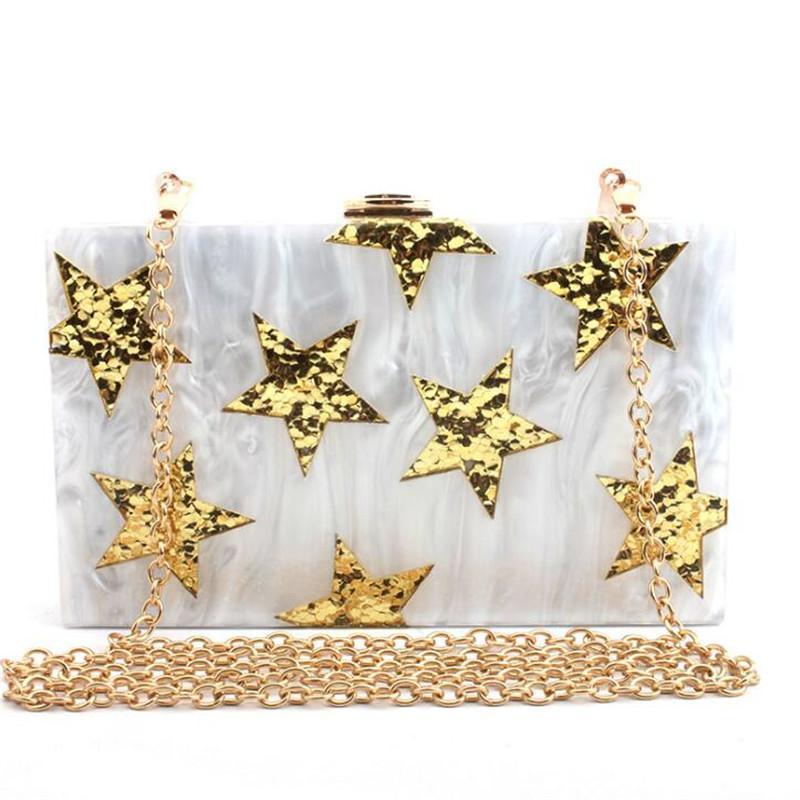 2020 femmes bling or sacs de soirée en acrylique étoiles portefeuilles d'embrayage de mariage avec une chaîne partie bourse dinenr pour les filles MN1660