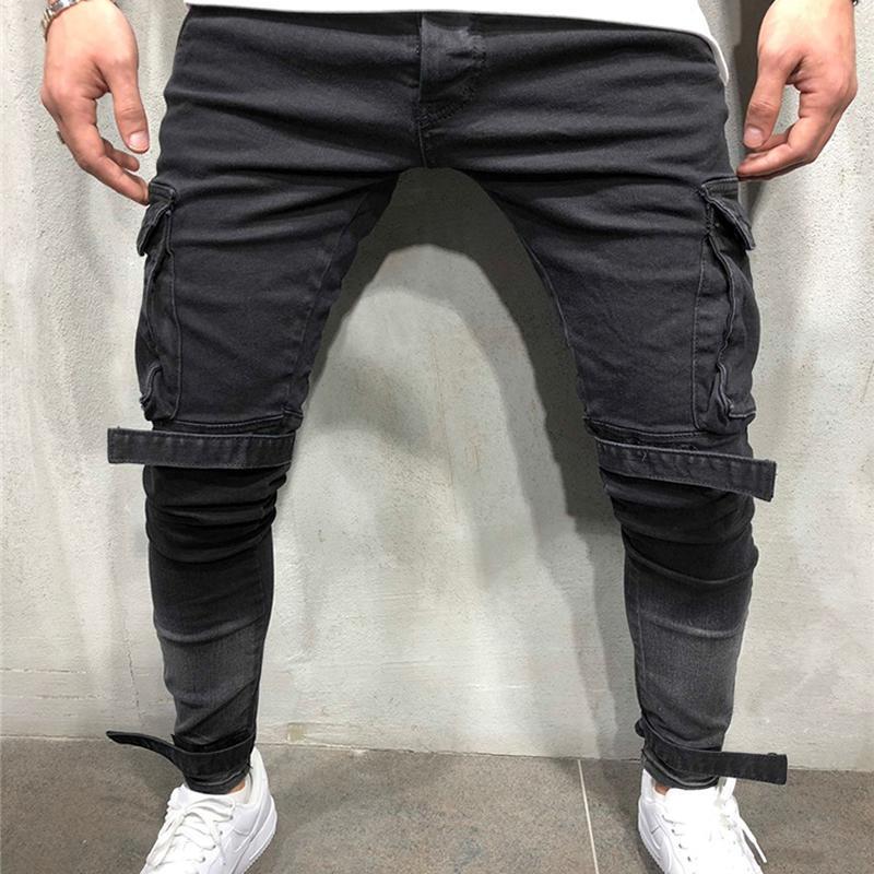 Patchwork Denim Jeans Men Calças Lápis Slim Fit motociclista Skinny Jeans Casual Jogger Big Side Pocket Hip Hop Preto Carga Calças